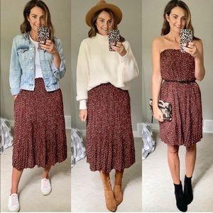 Brown pleated midi skirt
